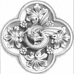 gotycki - ornament - roslinny - smok